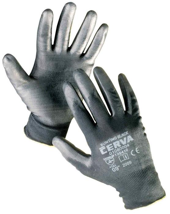 Ochranné rukavice bezešvé -  BUNTING / černé / vel.9