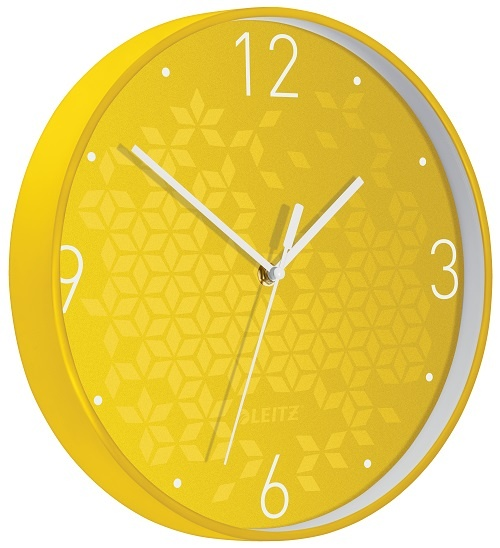 Leitz WOW nástěnné hodiny tiché žlutá