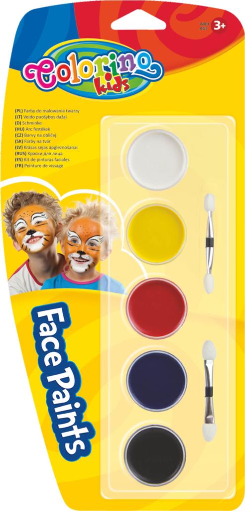 Obličejové barvy - 5 barev + štěteček