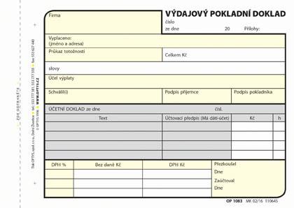 Optys 1083 výdajový pokladní doklad 100 listů NCR A6