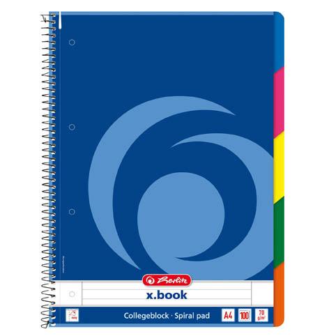 Blok College Herlitz s barevným registrem - A4 / linka + barevný registr