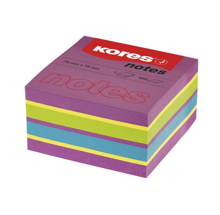 Samolepicí bloček Kores Cubo Spring - 75 x 75 mm / 450 lístků