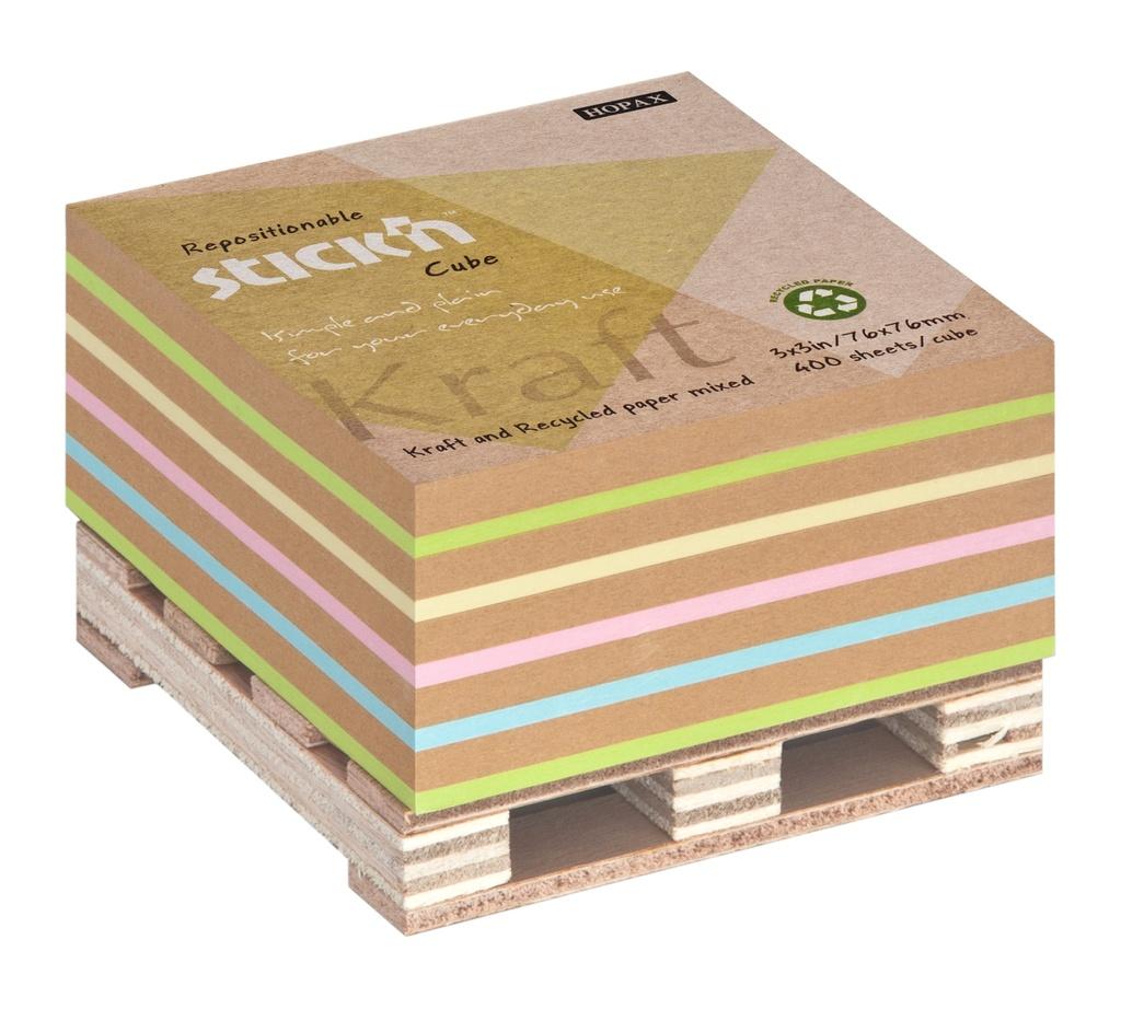 Samolepicí bločky Stick´n by Hopax - 76 x 76 mm / 400 lístků / kraft mix