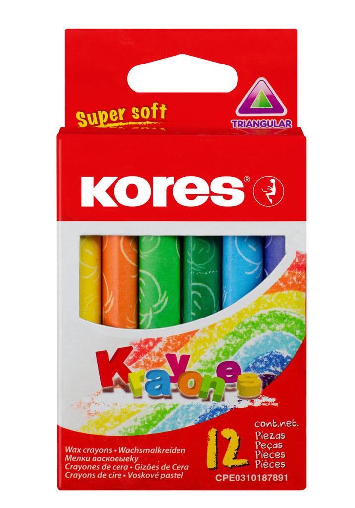 Voskové pastelky trojhranné Kores Kraynones - 12 barev