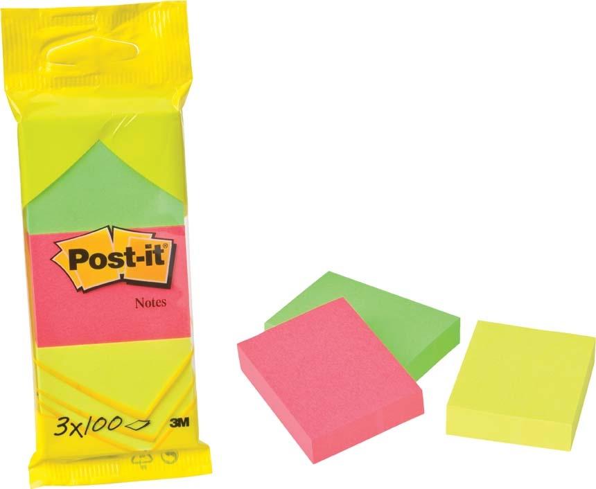 Samolepicí bločky Post-it - 51 mm x 38 mm / 3 x 100 lístků neon