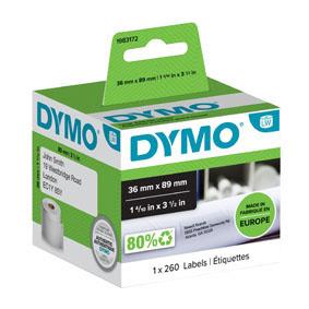 Štítky pro DYMO LabelWritter - 89 x 36 mm / adresové papírové / 1 x 260 ks
