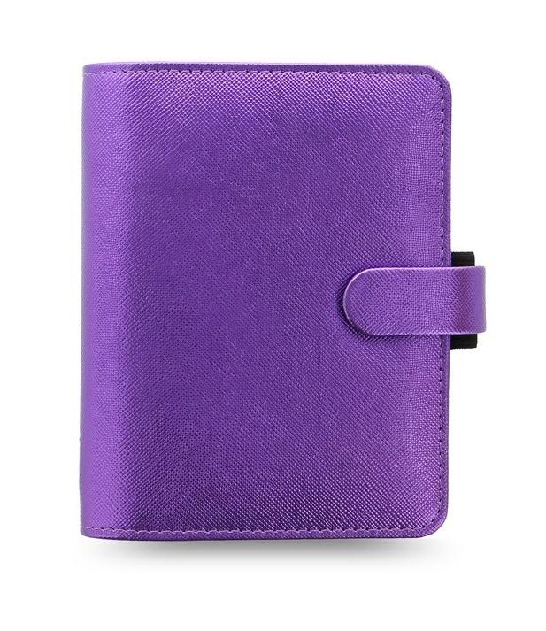 Filofax Saffiano Metalic A7 kapesní týdenní  fialová