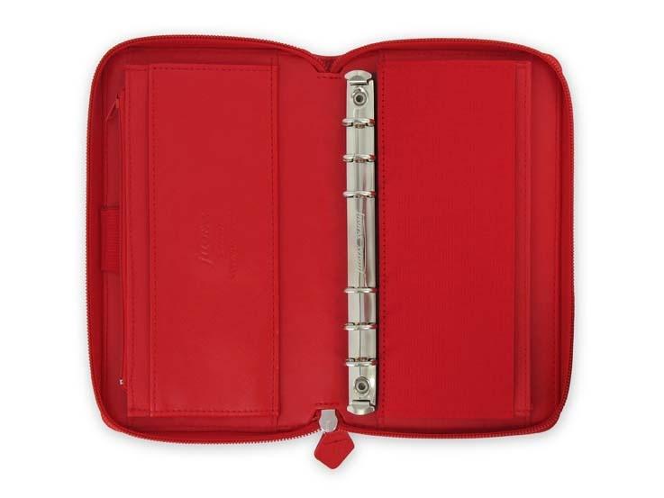Filofax Saffiano ZIP A6 osobní compact týdenní červená