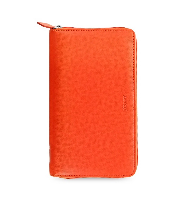 Filofax Saffiano ZIP A6 osobní compact týdenní oranžová