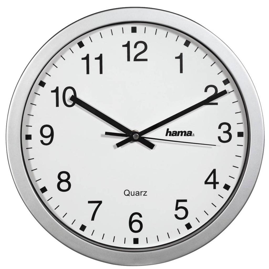 Nástěnné hodiny Hama CWA100 stříbrné / průměr 30 cm
