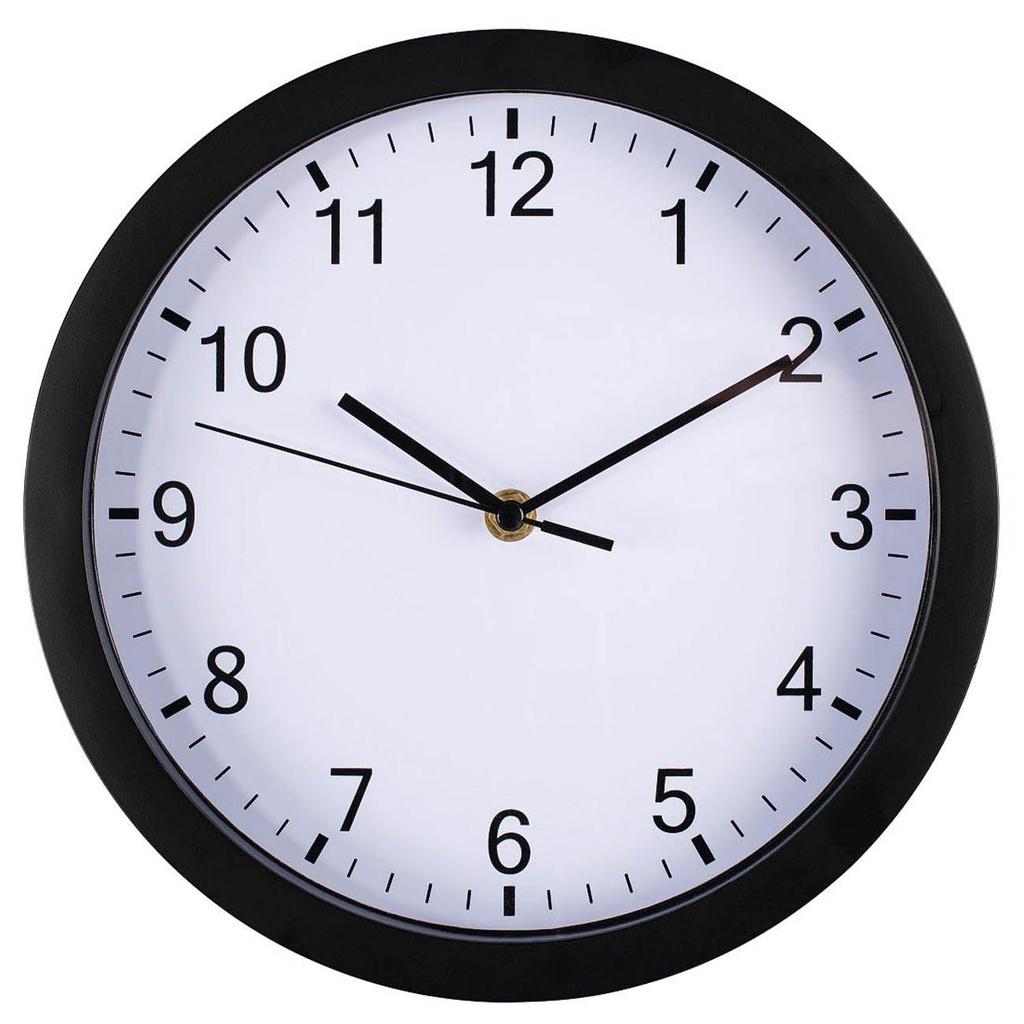 Nástěnné hodiny Hama Pure černé / tichý chod / průměr 25 cm