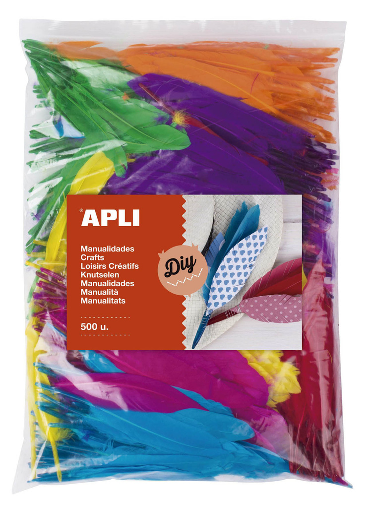 Indiánská peříčka APLI Jumbo / mix barev / 500 ks