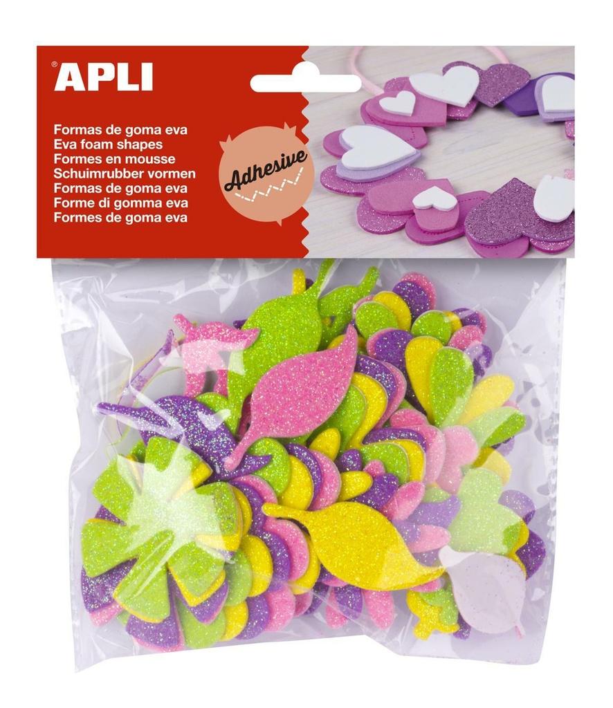 Pěnovka květiny APLI třpytivé / samolepící / 48 ks