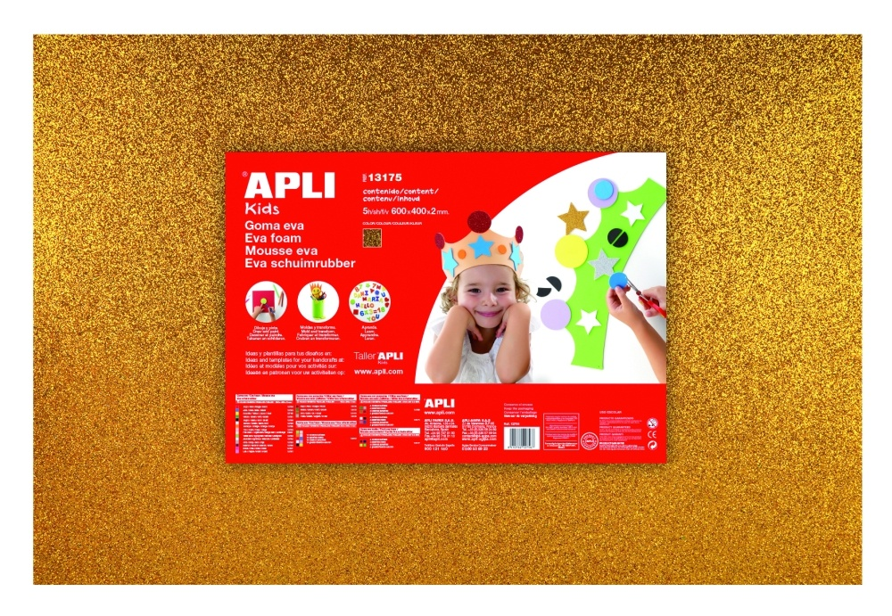 Pěnovka APLI třpytivá zlatá / 600 x 400mm / 3 ks