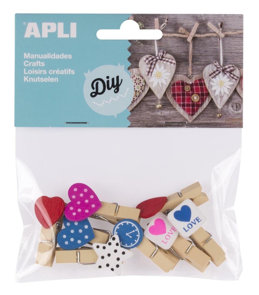 Dřevěné kolíčky APLI malé s ozdobami / mix druhů a barev
