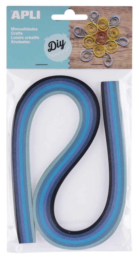 Quilling APLI papírové proužky / mix modrých barev / 120 ks
