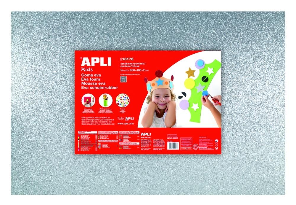 Pěnovka APLI třpytivá stříbrná / 600 x 400mm / 3 ks