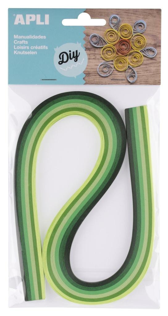 Quilling APLI papírové proužky / mix zelených barev / 120 ks