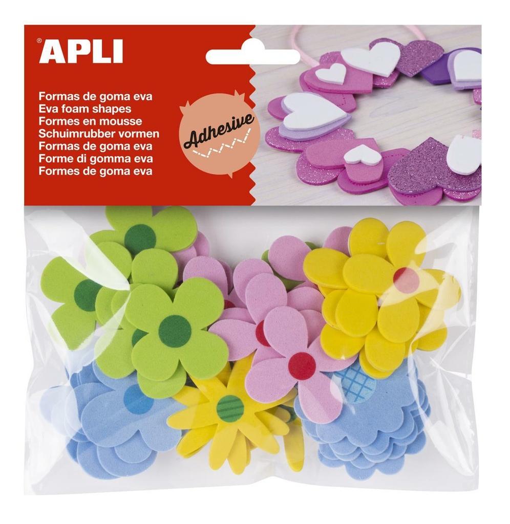 Pěnovka květiny APLI  mix barev / samolepicí / mix druhů