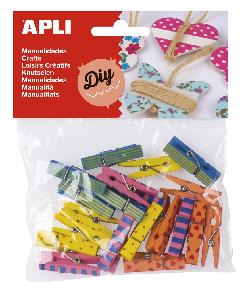 Dřevěné kolíčky APLI / mix barev / 20 ks