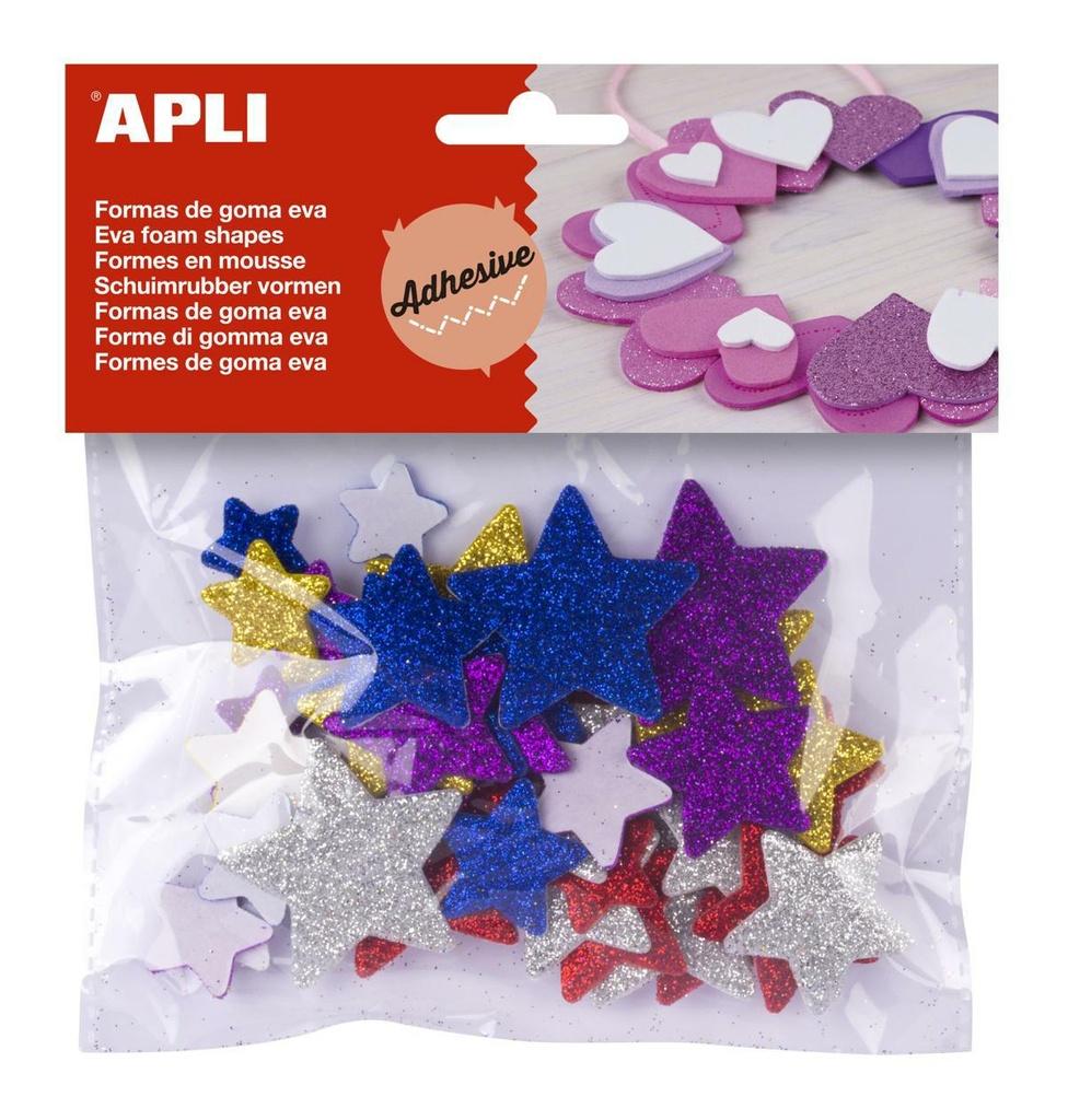 Pěnovka hvězdy APLI třpytivé / mix velikostí / samolepicí