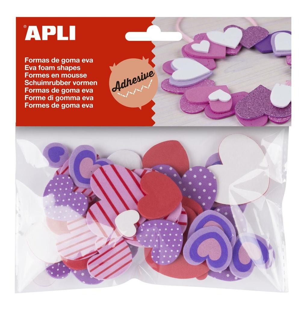 Pěnovka APLI ve tvaru srdce / mix druhů a barev / samolepicí