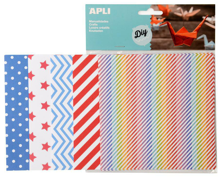 Origami papír APLI / 15 x 15 cm / mix barevných vzorů / 50 ks