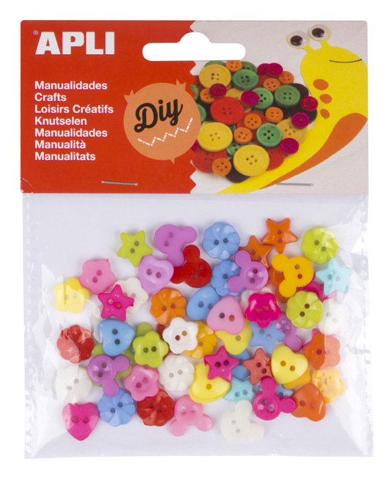 Barevné knoflíky APLI plastové / mix motivů / 60 ks