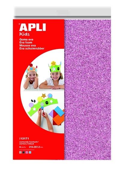 Pěnovka A4 APLI - 4 barvy / třpytky mix 1