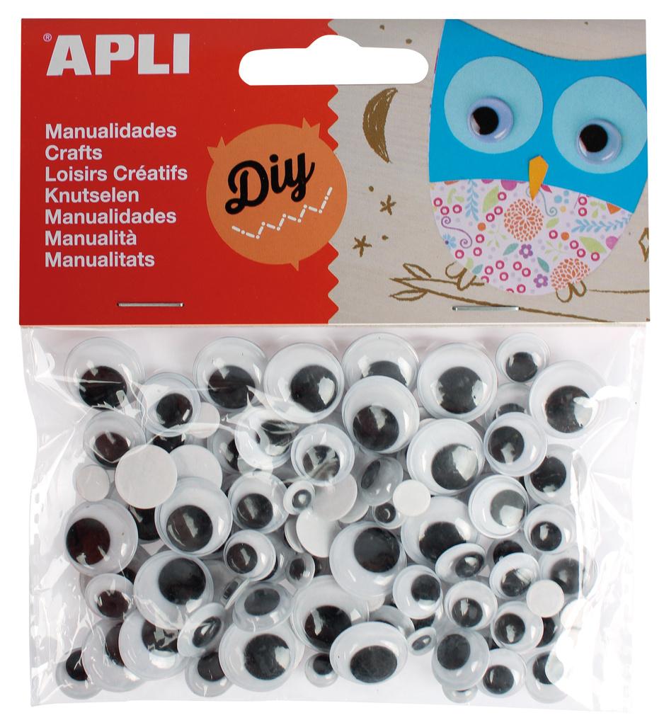 Dekorační očička APLI lepící / černé / kulaté / 100 ks