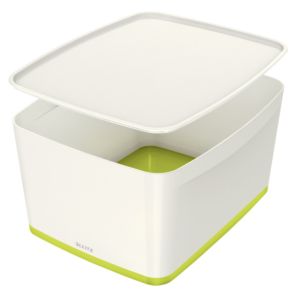 Organizační box MyBox - s víkem L / bílo - zelená