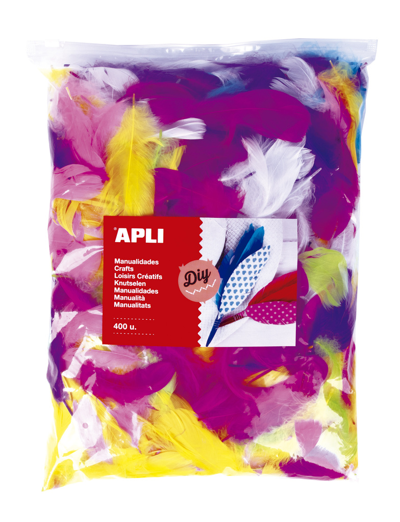 Doplňky APLI Jumbo - barevná pírka / mix barev / 400 ks