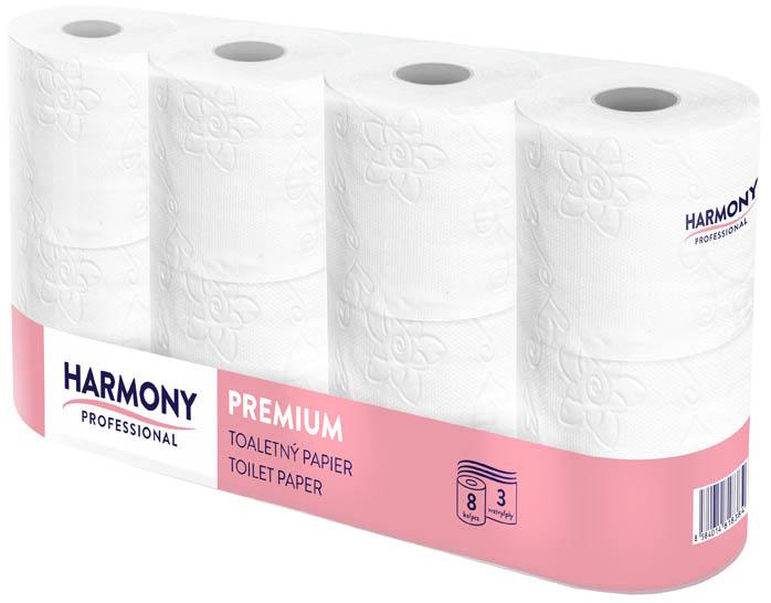 Toaletní papír Harmony Professional - 8 rolí / třívrstvý / 100% celulóza