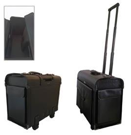 Pilotní kufr Attache - černá / s kolečky