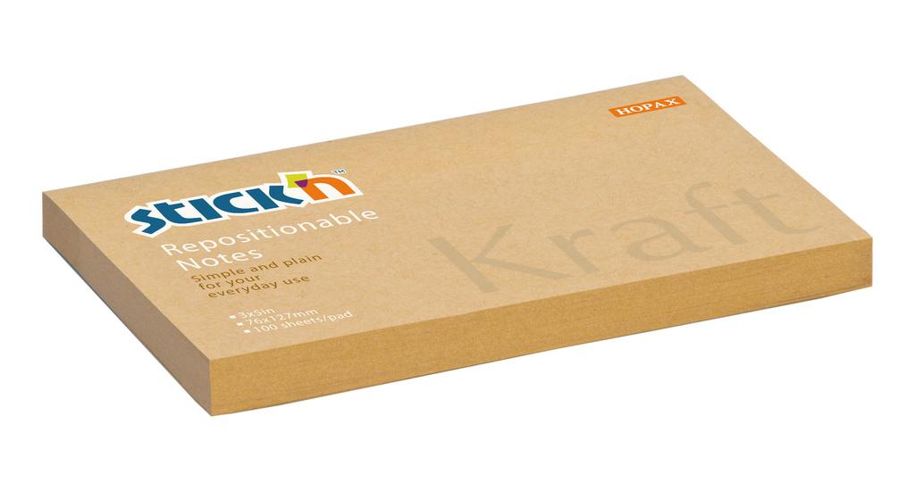 Samolepicí bločky Stick´n by Hopax Kraft Notes - 76 mm x 127 mm / 100 lístků