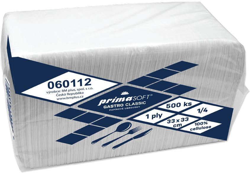 Ubrousky papírové PrimaSOFT Gastro - 33 x 33 cm / bílá / 500 ks