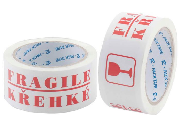 Lepicí páska s textem - 50 mm x 66 m / křehké
