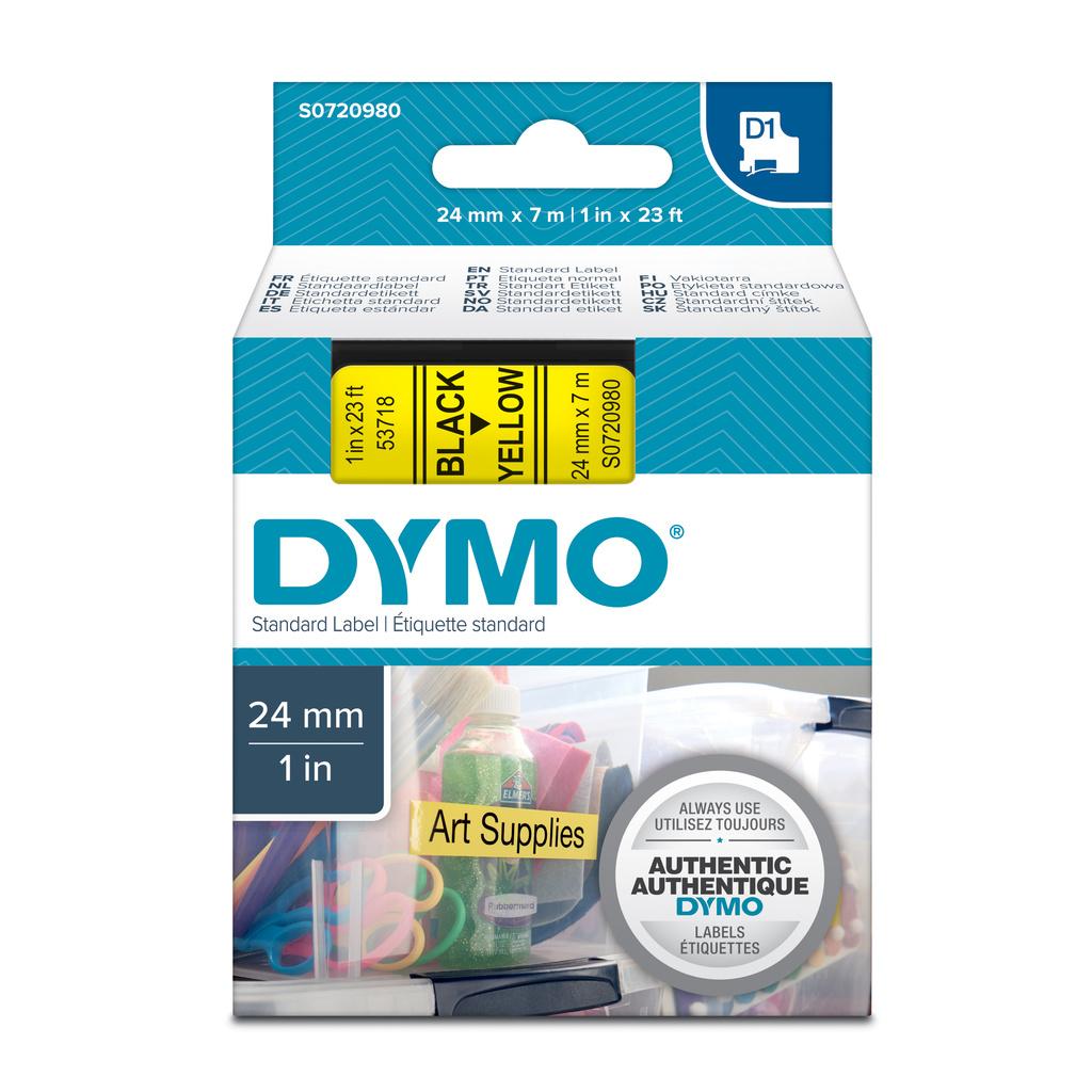 Pásky D1 standardní - 24 mm x 7 m / černý tisk / žlutá páska