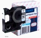 Pásky D1 polyesterové permanentní - 9 mm x 5,5 m / černý tisk / bílá páska