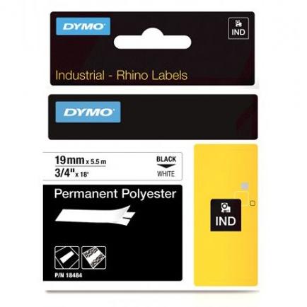 Pásky D1 polyesterové permanentní - 19 mm x 5,5 m / černý tisk / bílá páska