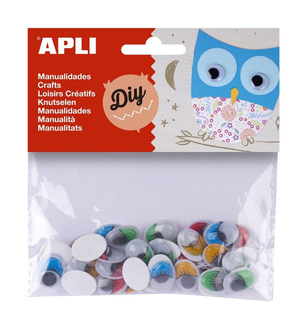 Samolepicí očíčka APLI barevná / 40 ks