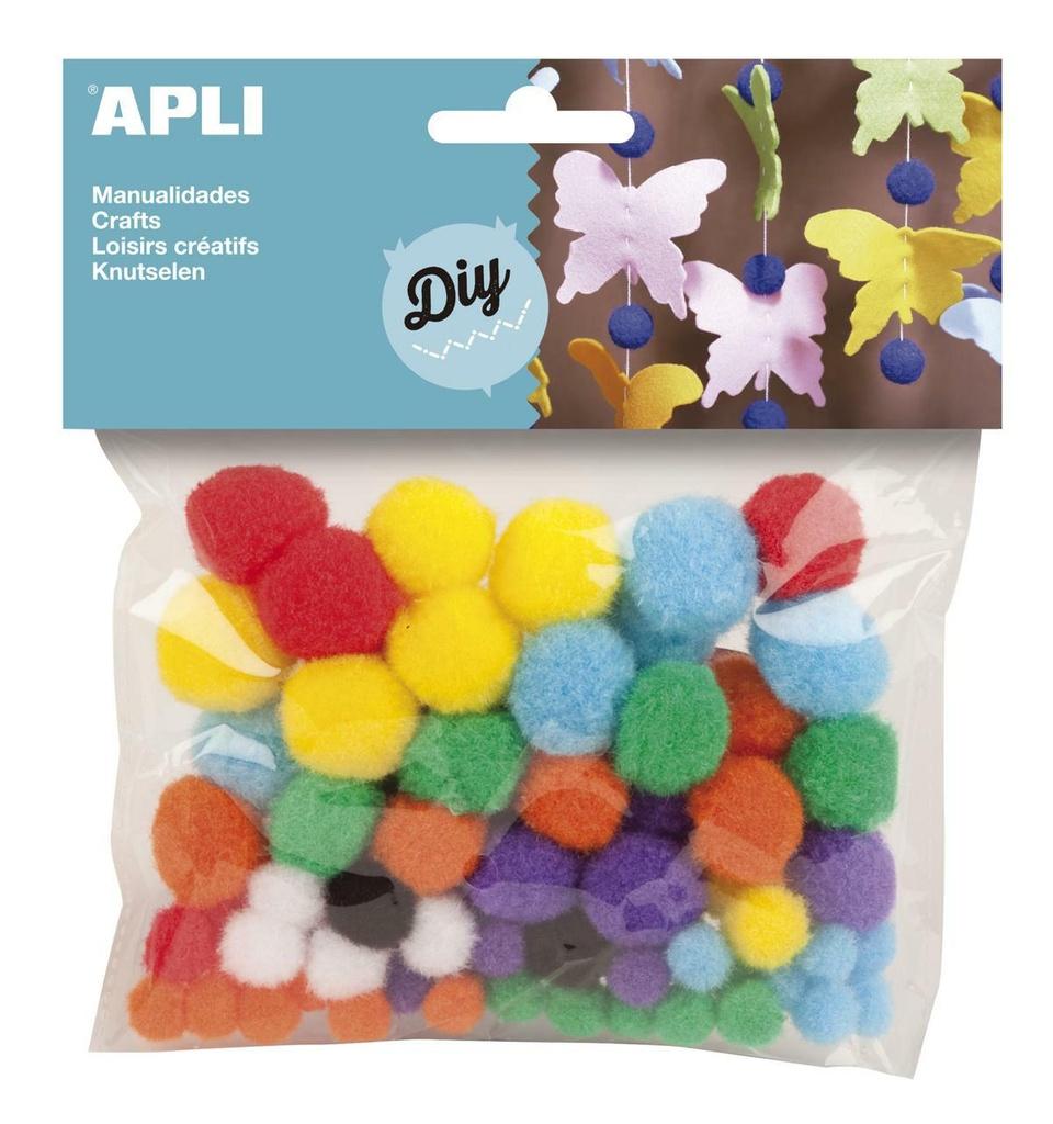 Kuličky APLI POM POM barevné / 78 ks