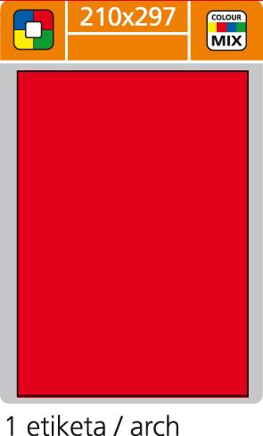 Print etikety A4 pro laserový a inkoustový tisk - 210 x 297 mm (1 etiketa/ arch) červená