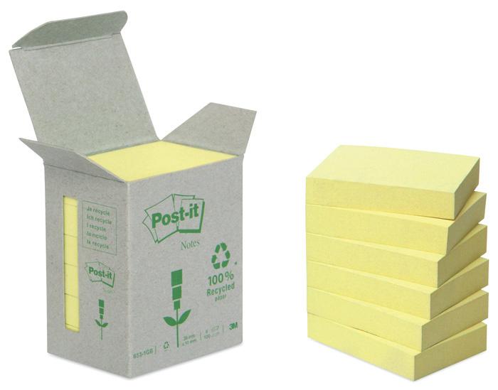 Samolepící bločky Post-it recyklované - 76 x 76 mm / žlutá / 6 x 100 lístků