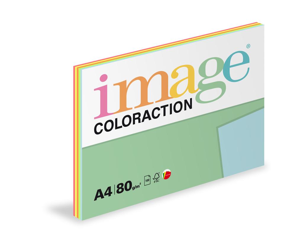 Xerografický papír BAREVNÝ - set 5 x 20 listů reflexní barvy / mix 5barev