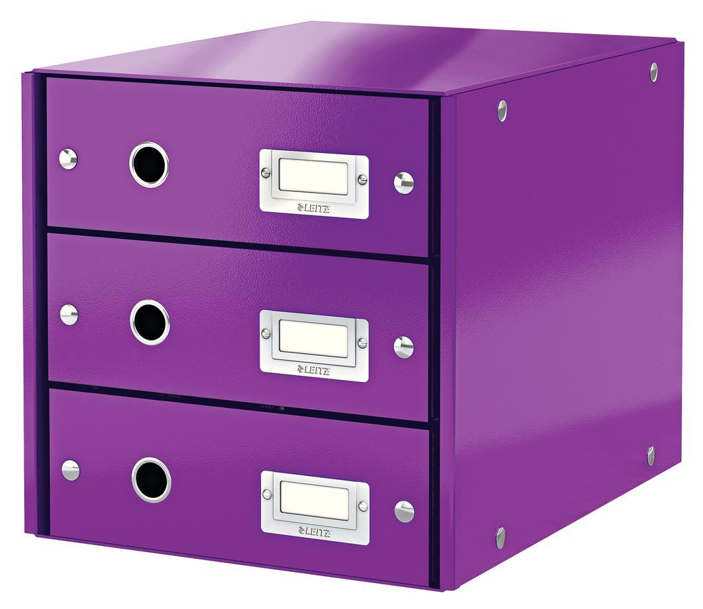 Zásuvkový box Leitz Click & Store - 3 zásuvky / fialová