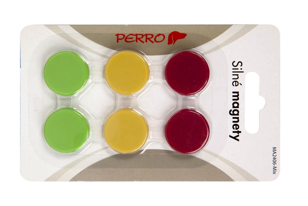 Magnety Perro silné - průměr 24 mm / barevný mix / 6 ks