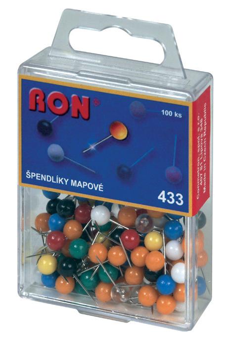 Špendlíky mapové RON - kuličky / 100 ks / barevný mix