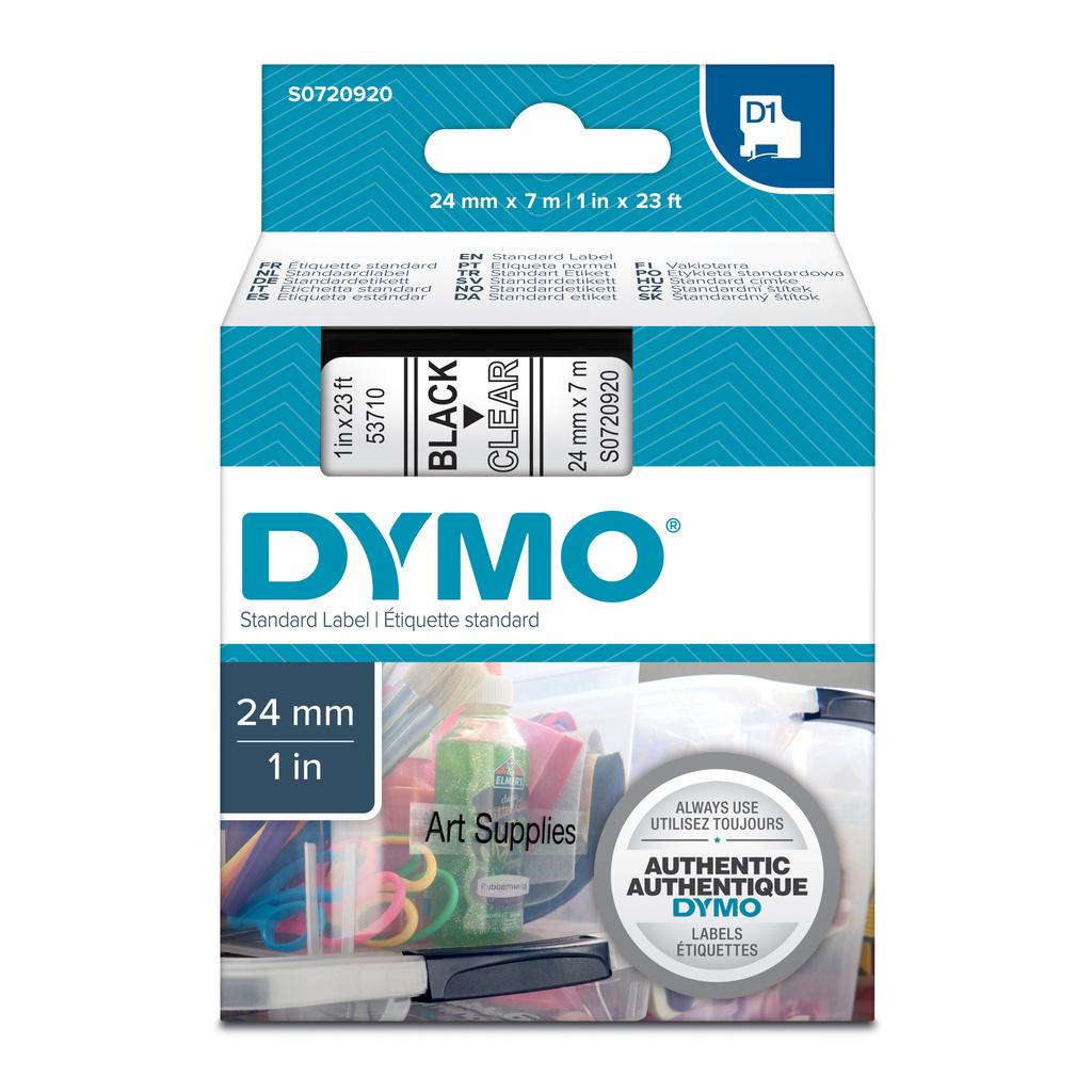 Pásky D1 standardní - 24 mm x 7 m / černý tisk / čirá páska