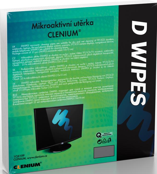 Mikroaktivní suchá utěrka Clenium - 15 x 15 cm / 25 ks